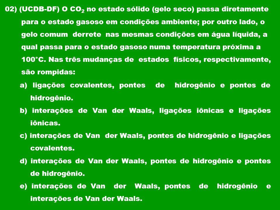 02) (UCDB-DF) O CO 2 no estado sólido (gelo seco) passa diretamente para o estado gasoso em condições ambiente; por outro lado, o gelo comum derrete n