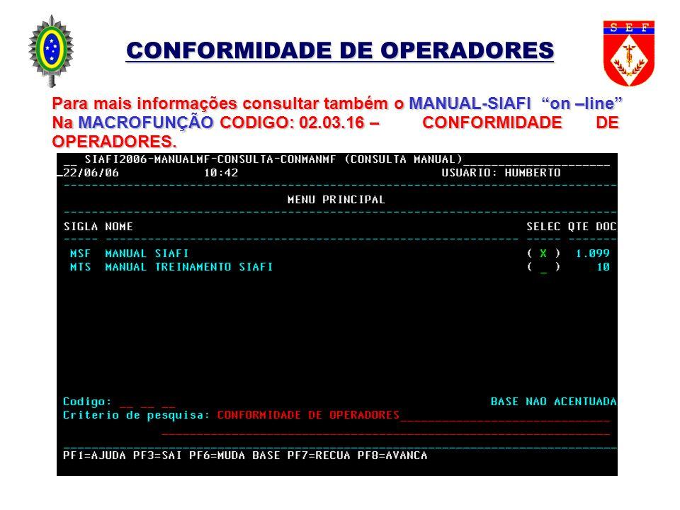 CONFORMIDADE DE OPERADORES Para mais informações consultar também o MANUAL-SIAFI on –line Na MACROFUNÇÃO CODIGO: 02.03.16 – CONFORMIDADE DE OPERADORES
