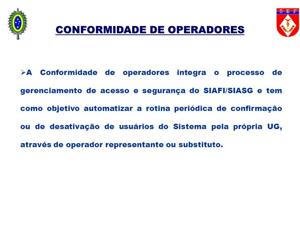 CONFORMIDADE DE OPERADORES A Conformidade de operadores integra o processo de gerenciamento de acesso e segurança do SIAFI/SIASG e tem como objetivo a