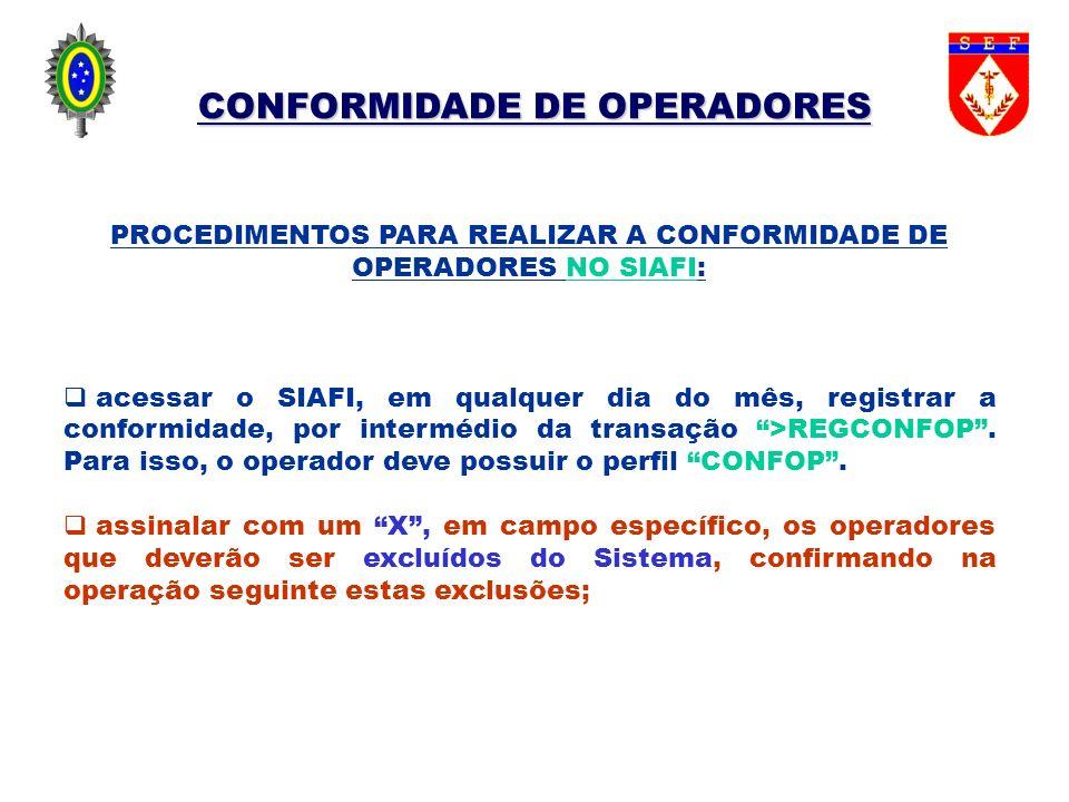CONFORMIDADE DE OPERADORES PROCEDIMENTOS PARA REALIZAR A CONFORMIDADE DE OPERADORES NO SIAFI: acessar o SIAFI, em qualquer dia do mês, registrar a con