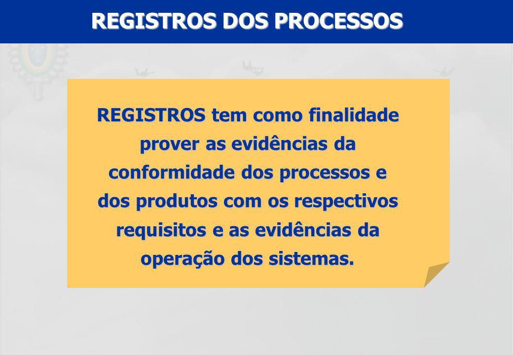 REGISTROS DOS PROCESSOS REGISTROS tem como finalidade prover as evidências da conformidade dos processos e dos produtos com os respectivos requisitos