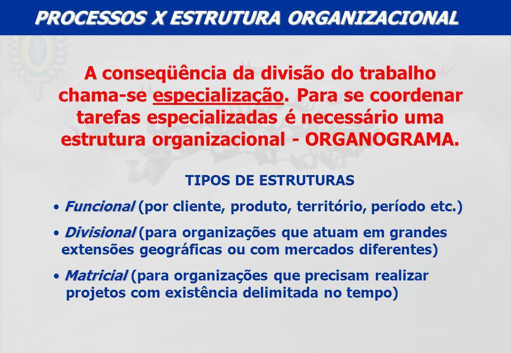 A conseqüência da divisão do trabalho chama-se especialização. Para se coordenar tarefas especializadas é necessário uma estrutura organizacional - OR