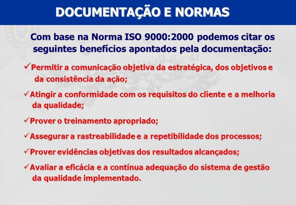 UFF – MBA – ANÁLISE E MODELAGEM DE PROCESSOS – PROF A MARIA ELISA MACIEIRA DOCUMENTAÇÃO E NORMAS Com base na Norma ISO 9000:2000 podemos citar os segu