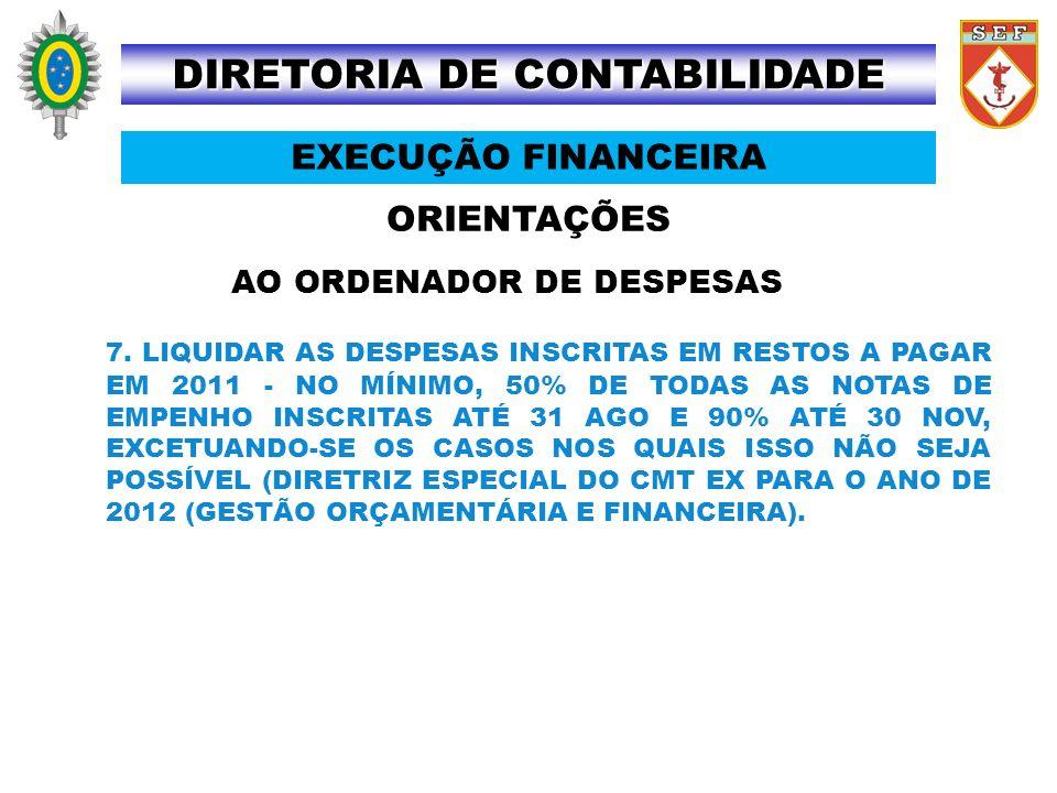 ORIENTAÇÕES DIRETORIA DE CONTABILIDADE EXECUÇÃO FINANCEIRA AO ORDENADOR DE DESPESAS 7. LIQUIDAR AS DESPESAS INSCRITAS EM RESTOS A PAGAR EM 2011 - NO M