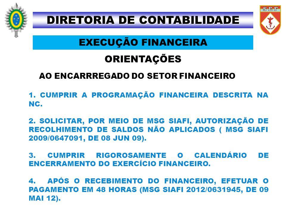 ORIENTAÇÕES DIRETORIA DE CONTABILIDADE EXECUÇÃO FINANCEIRA AO ENCARRREGADO DO SETOR FINANCEIRO 1. CUMPRIR A PROGRAMAÇÃO FINANCEIRA DESCRITA NA NC. 2.