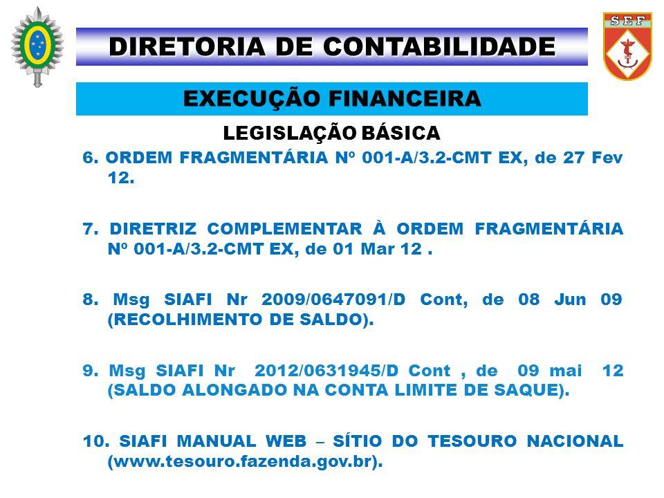 LEGISLAÇÃO BÁSICA DIRETORIA DE CONTABILIDADE EXECUÇÃO FINANCEIRA 6. ORDEM FRAGMENTÁRIA Nº 001-A/3.2-CMT EX, de 27 Fev 12. 7. DIRETRIZ COMPLEMENTAR À O