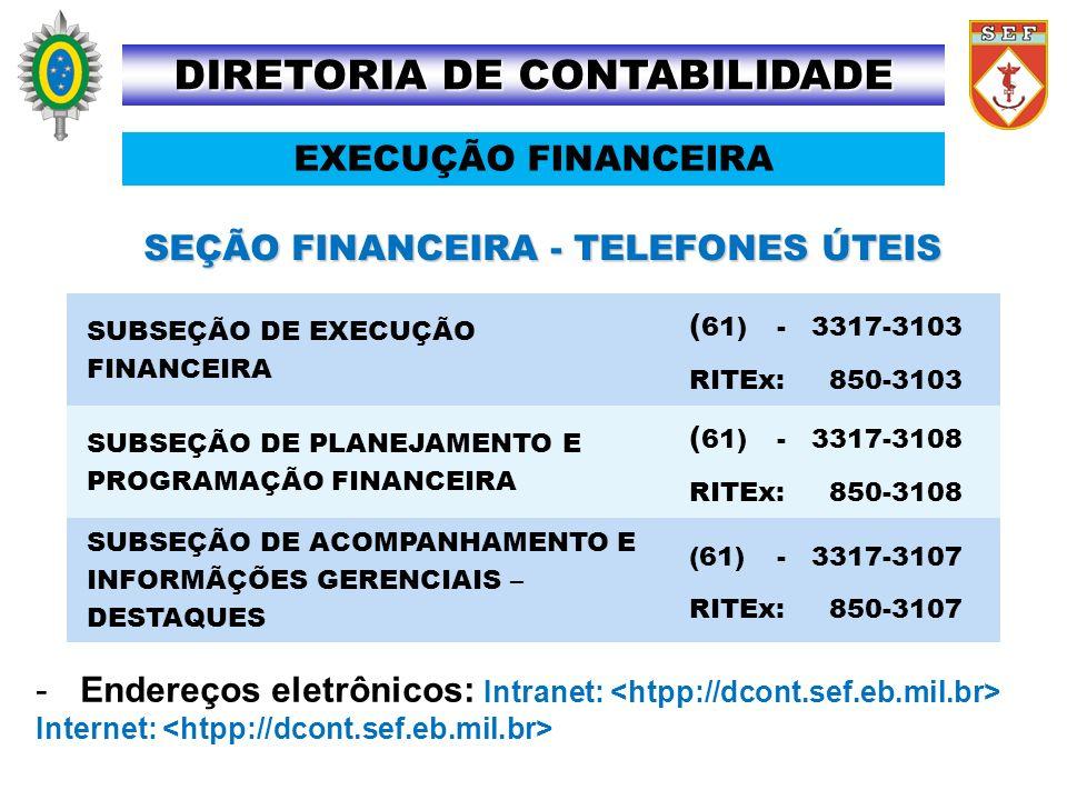 SEÇÃO FINANCEIRA - TELEFONES ÚTEIS -Endereços eletrônicos: Intranet: Internet: DIRETORIA DE CONTABILIDADE SUBSEÇÃO DE EXECUÇÃO FINANCEIRA ( 61) -3317-