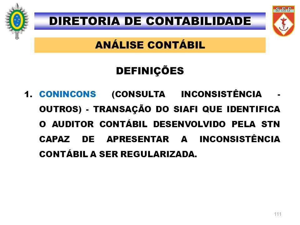 111 1.CONINCONS (CONSULTA INCONSISTÊNCIA - OUTROS) - TRANSAÇÃO DO SIAFI QUE IDENTIFICA O AUDITOR CONTÁBIL DESENVOLVIDO PELA STN CAPAZ DE APRESENTAR A