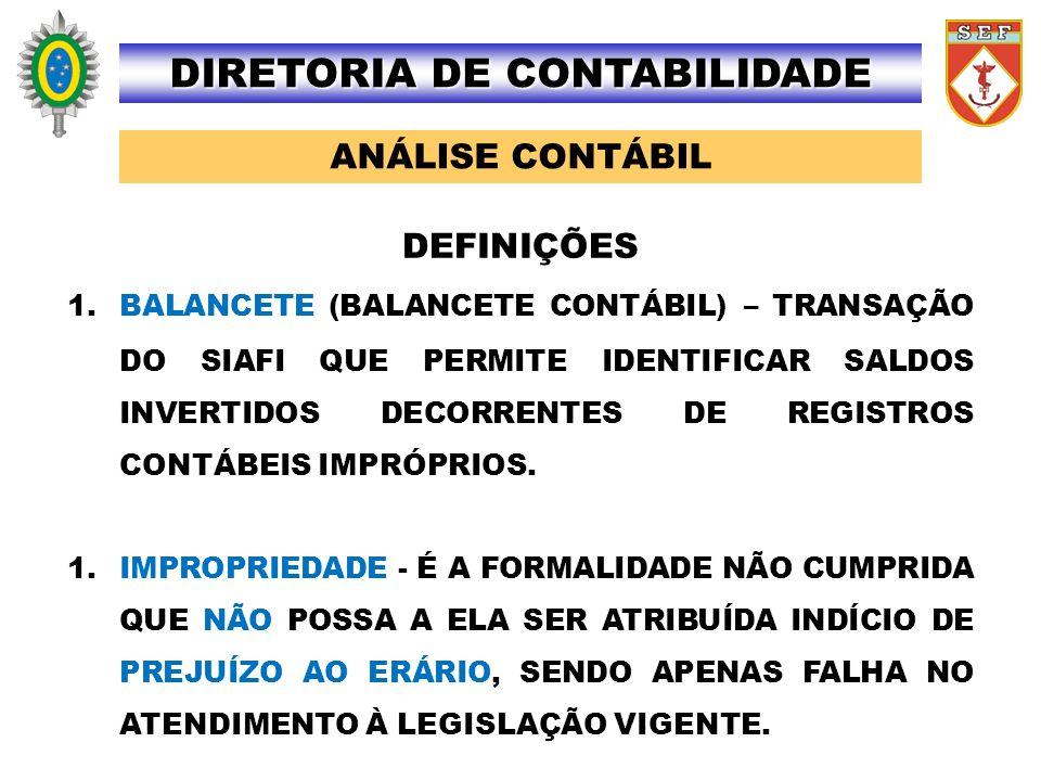 ANÁLISE CONTÁBIL DIRETORIA DE CONTABILIDADE 1.BALANCETE (BALANCETE CONTÁBIL) – TRANSAÇÃO DO SIAFI QUE PERMITE IDENTIFICAR SALDOS INVERTIDOS DECORRENTE