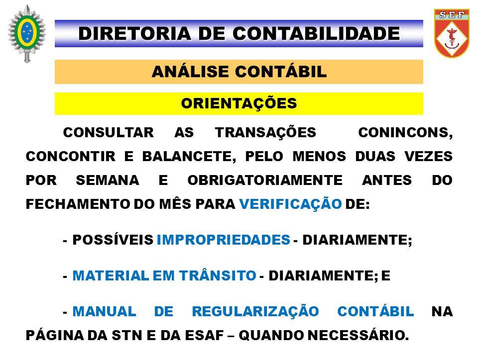 ANÁLISE CONTÁBIL DIRETORIA DE CONTABILIDADE CONSULTAR AS TRANSAÇÕES CONINCONS, CONCONTIR E BALANCETE, PELO MENOS DUAS VEZES POR SEMANA E OBRIGATORIAME