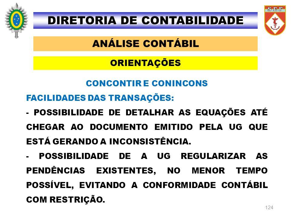 124 ANÁLISE CONTÁBIL DIRETORIA DE CONTABILIDADE ORIENTAÇÕES CONCONTIR E CONINCONS FACILIDADES DAS TRANSAÇÕES: - POSSIBILIDADE DE DETALHAR AS EQUAÇÕES