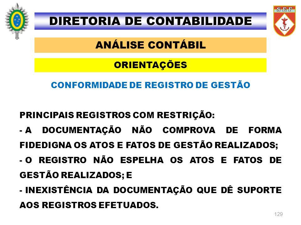 129 ANÁLISE CONTÁBIL DIRETORIA DE CONTABILIDADE ORIENTAÇÕES CONFORMIDADE DE REGISTRO DE GESTÃO PRINCIPAIS REGISTROS COM RESTRIÇÃO: - A DOCUMENTAÇÃO NÃ