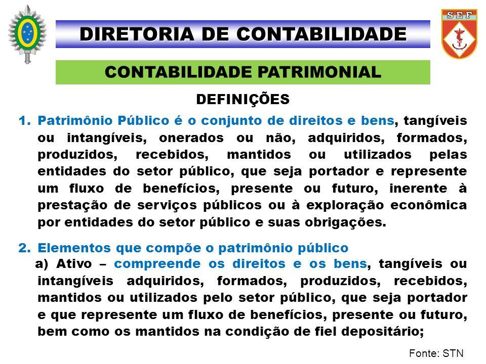 CONTABILIDADE PATRIMONIAL DIRETORIA DE CONTABILIDADE 1.Patrimônio Público é o conjunto de direitos e bens, tangíveis ou intangíveis, onerados ou não,
