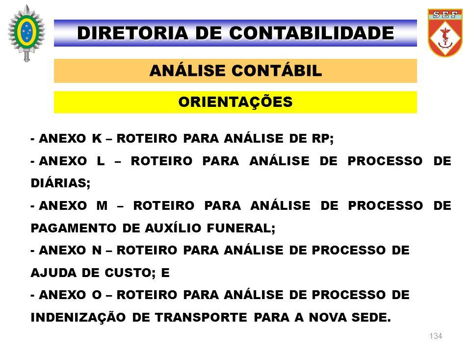 134 ANÁLISE CONTÁBIL DIRETORIA DE CONTABILIDADE ORIENTAÇÕES - ANEXO K – ROTEIRO PARA ANÁLISE DE RP; - ANEXO L – ROTEIRO PARA ANÁLISE DE PROCESSO DE DI