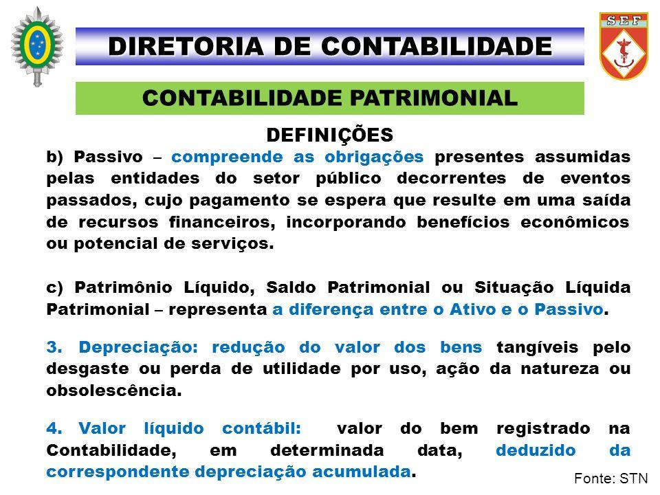 CONTABILIDADE PATRIMONIAL DIRETORIA DE CONTABILIDADE b) Passivo – compreende as obrigações presentes assumidas pelas entidades do setor público decorr