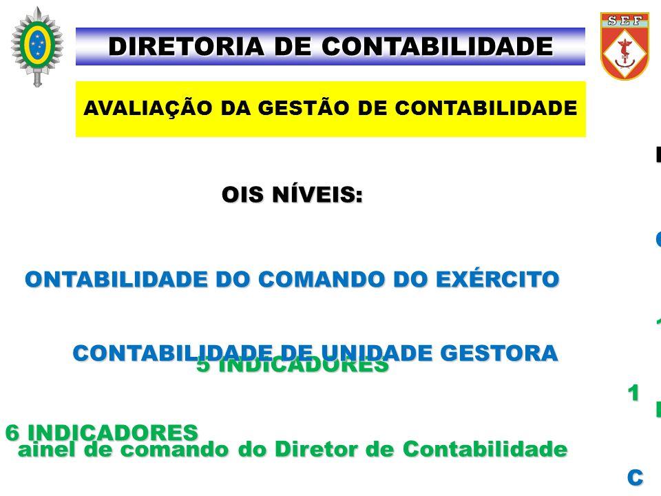D OIS NÍVEIS: C ONTABILIDADE DO COMANDO DO EXÉRCITO 1 5 INDICADORES P ainel de comando do Diretor de Contabilidade CONTABILIDADE DE UNIDADE GESTORA 1