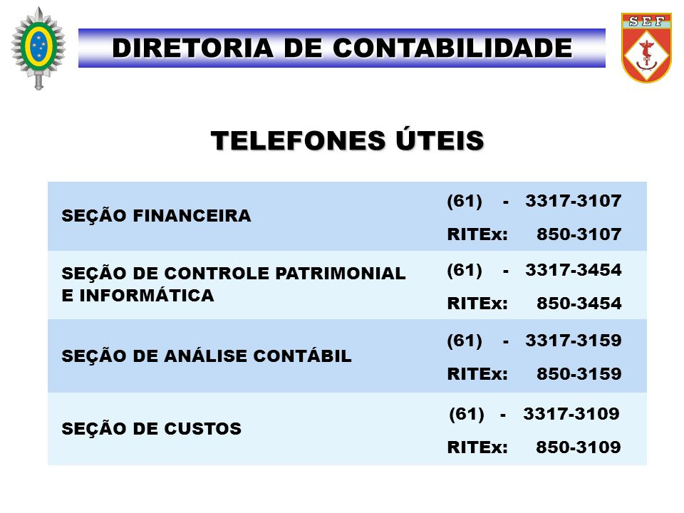 TELEFONES ÚTEIS DIRETORIA DE CONTABILIDADE SEÇÃO FINANCEIRA (61) -3317-3107 RITEx: 850-3107 SEÇÃO DE CONTROLE PATRIMONIAL E INFORMÁTICA (61) -3317-345