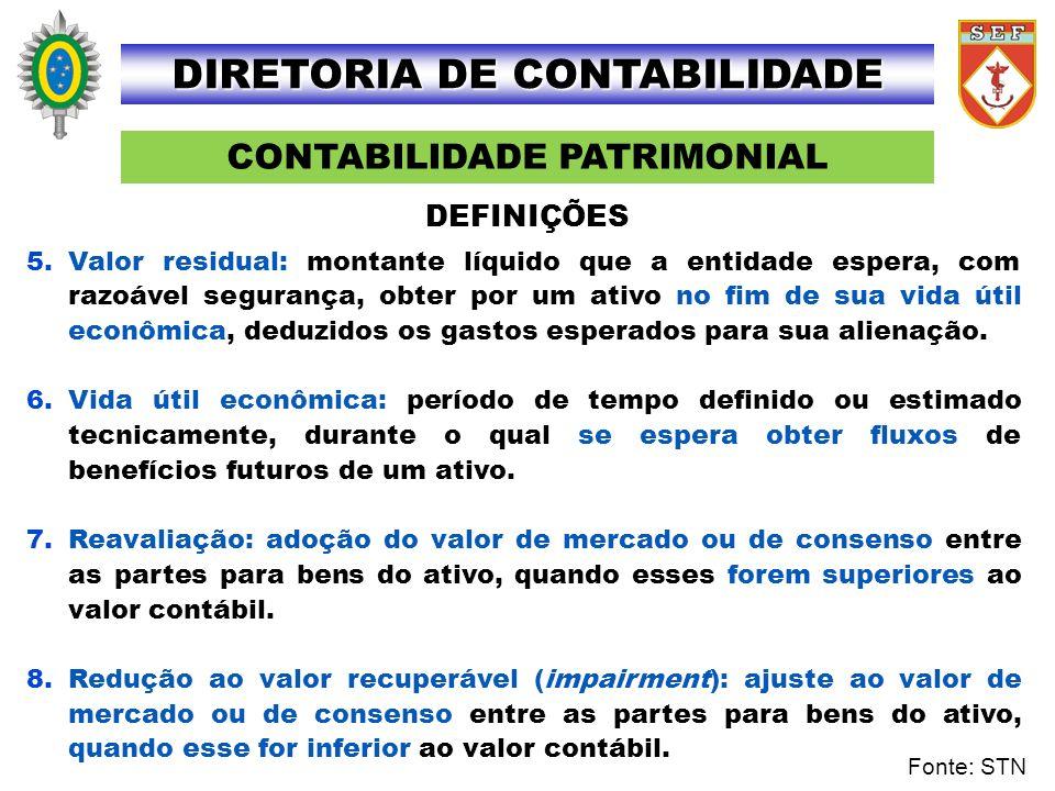 CONTABILIDADE PATRIMONIAL DIRETORIA DE CONTABILIDADE 5.Valor residual: montante líquido que a entidade espera, com razoável segurança, obter por um at