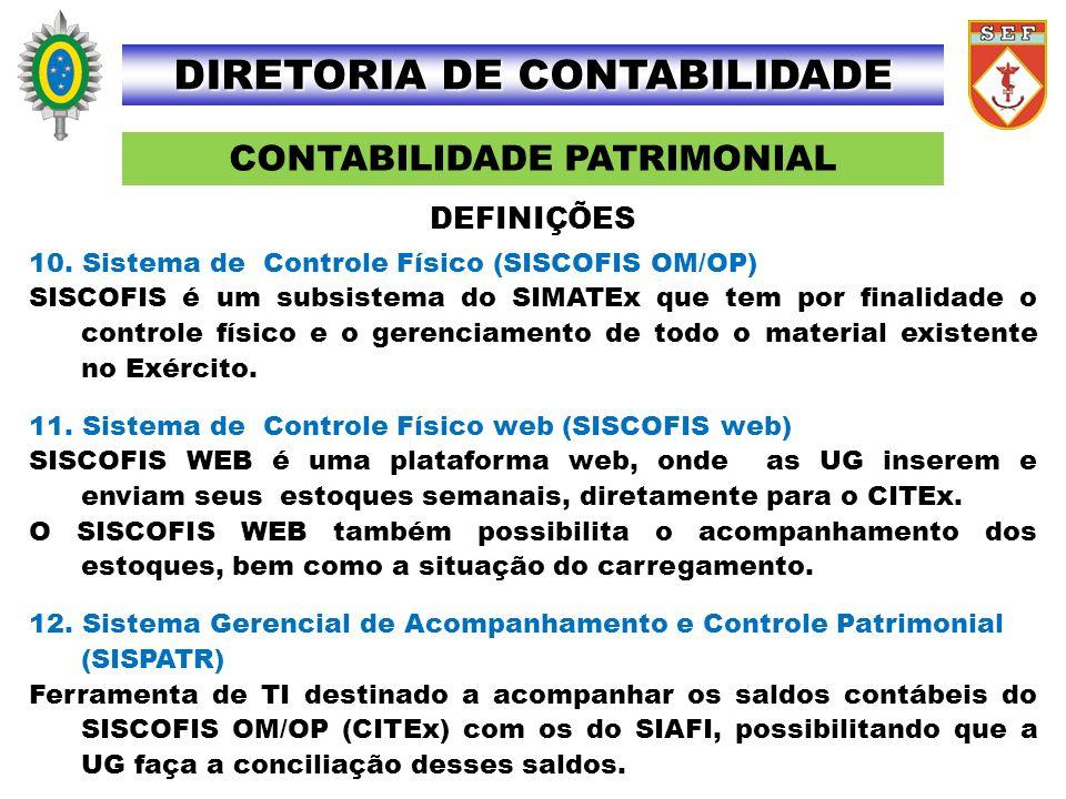 CONTABILIDADE PATRIMONIAL DIRETORIA DE CONTABILIDADE 10. Sistema de Controle Físico (SISCOFIS OM/OP) SISCOFIS é um subsistema do SIMATEx que tem por f