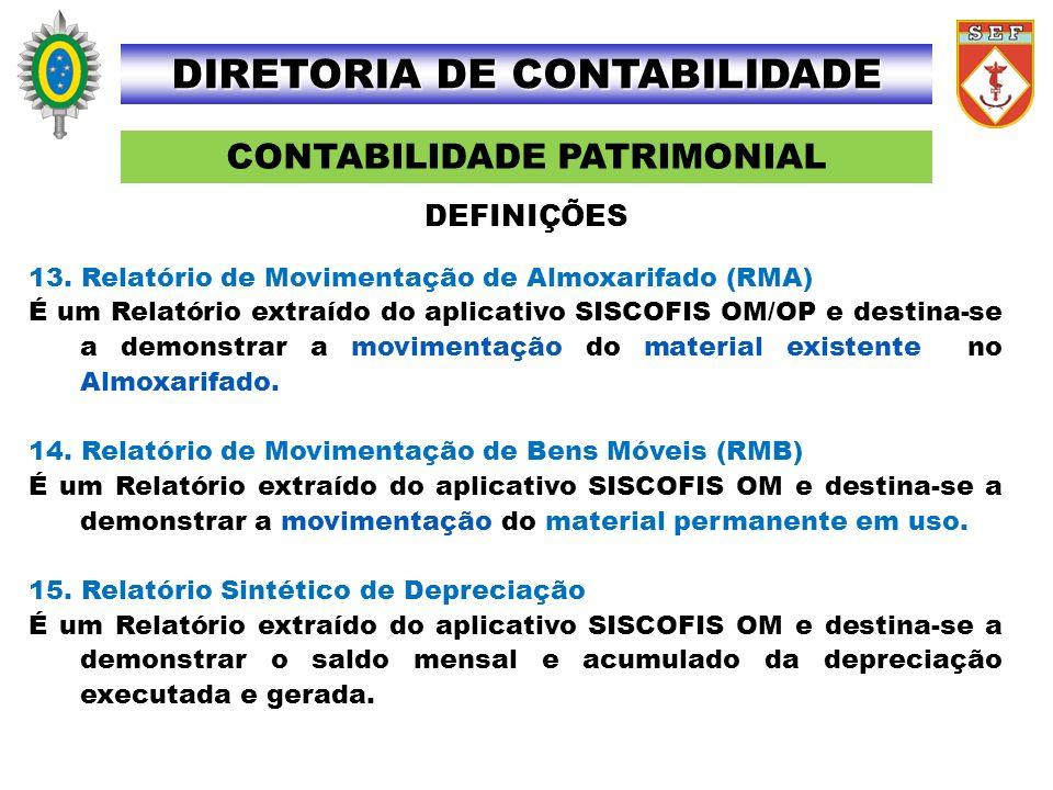 CONTABILIDADE PATRIMONIAL DIRETORIA DE CONTABILIDADE 13. Relatório de Movimentação de Almoxarifado (RMA) É um Relatório extraído do aplicativo SISCOFI