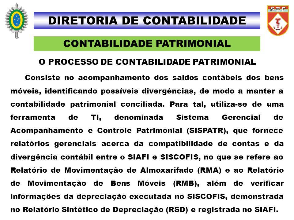 CONTABILIDADE PATRIMONIAL DIRETORIA DE CONTABILIDADE Consiste no acompanhamento dos saldos contábeis dos bens móveis, identificando possíveis divergên