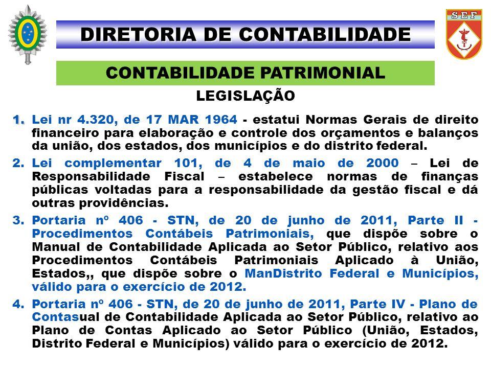 CONTABILIDADE PATRIMONIAL DIRETORIA DE CONTABILIDADE LEGISLAÇÃO 1. 1.Lei nr 4.320, de 17 MAR 1964 - estatui Normas Gerais de direito financeiro para e