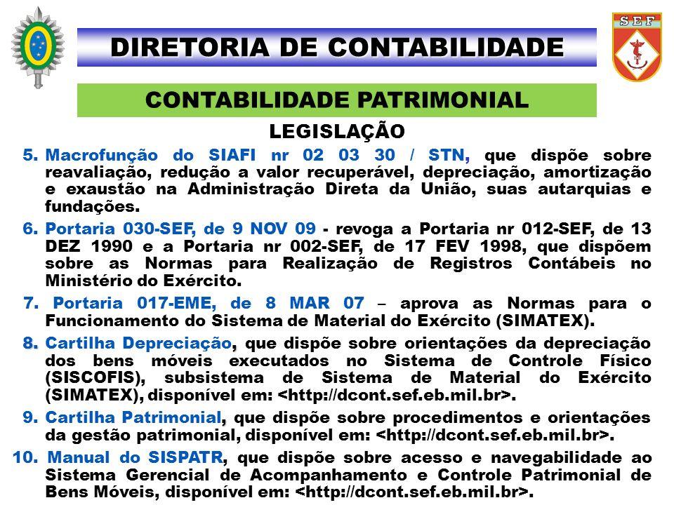 CONTABILIDADE PATRIMONIAL DIRETORIA DE CONTABILIDADE 5.Macrofunção do SIAFI nr 02 03 30 / STN, que dispõe sobre reavaliação, redução a valor recuperáv