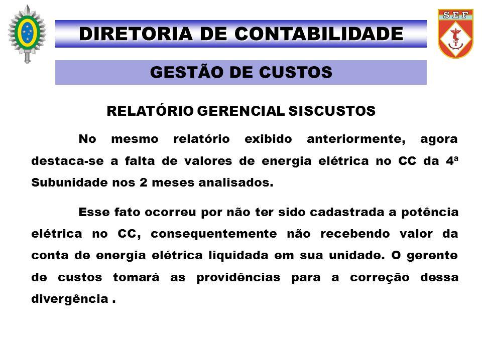 RELATÓRIO GERENCIAL SISCUSTOS No mesmo relatório exibido anteriormente, agora destaca-se a falta de valores de energia elétrica no CC da 4ª Subunidade