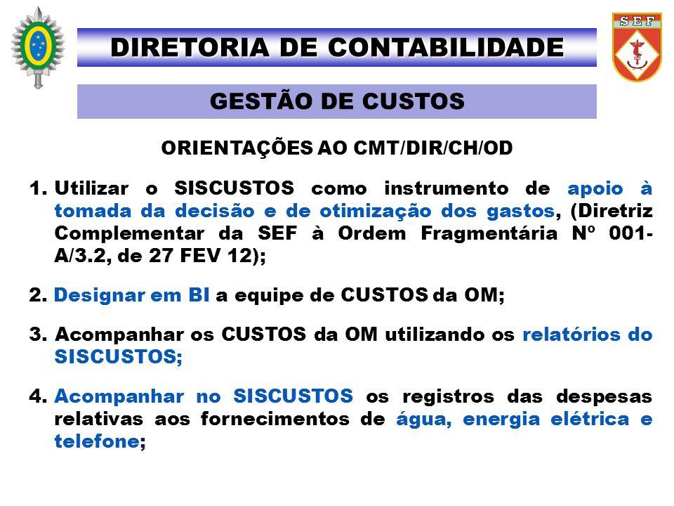 1.Utilizar o SISCUSTOS como instrumento de apoio à tomada da decisão e de otimização dos gastos, (Diretriz Complementar da SEF à Ordem Fragmentária Nº
