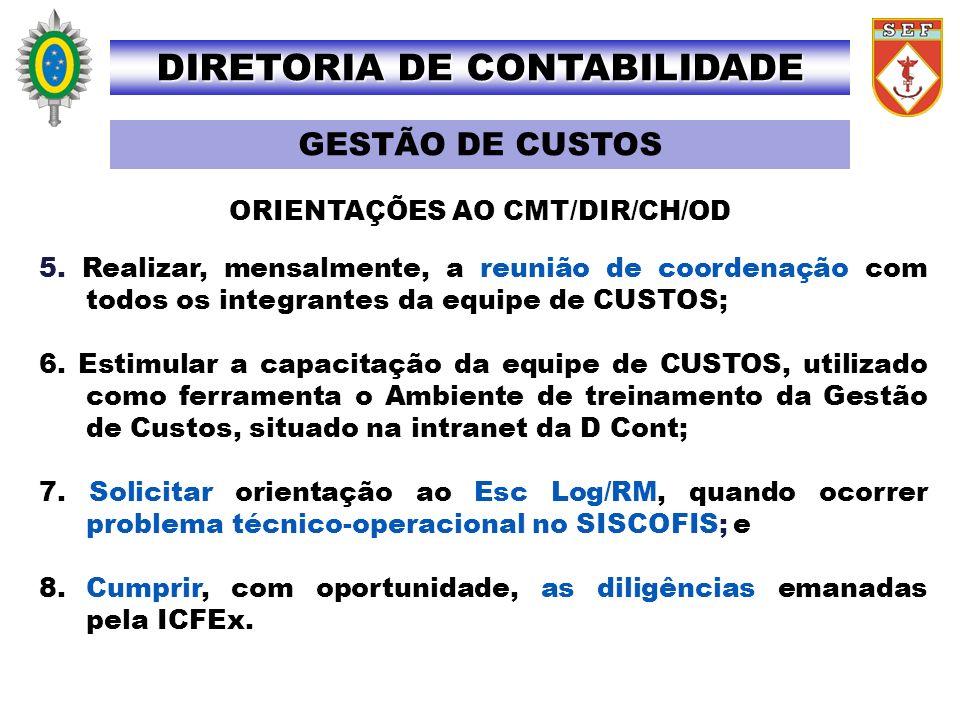 ORIENTAÇÕES AO CMT/DIR/CH/OD GESTÃO DE CUSTOS DIRETORIA DE CONTABILIDADE 5. Realizar, mensalmente, a reunião de coordenação com todos os integrantes d