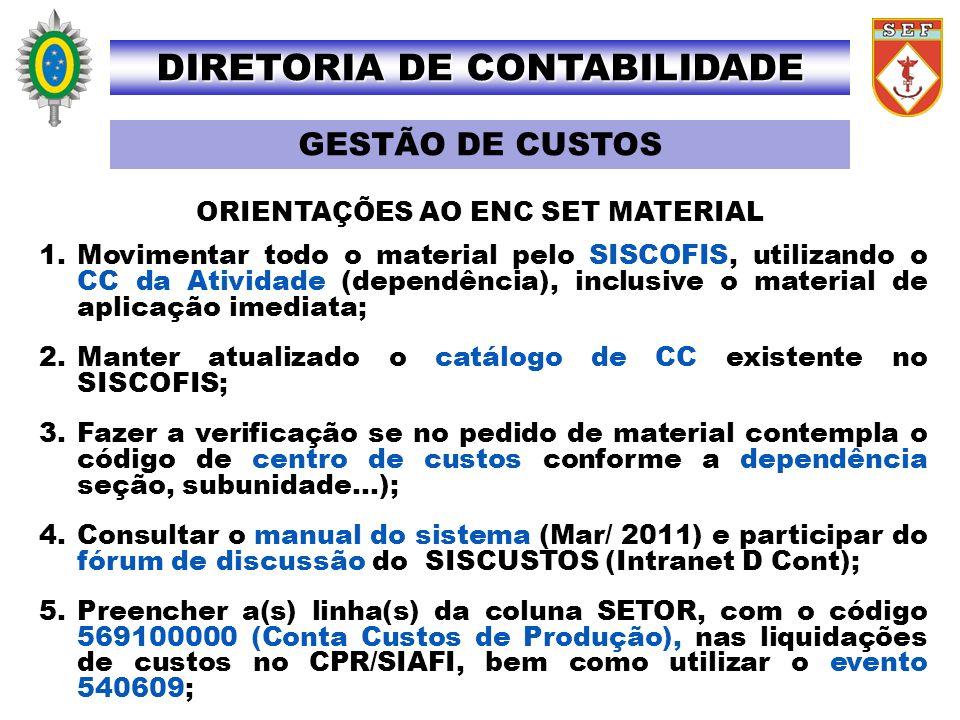 1.Movimentar todo o material pelo SISCOFIS, utilizando o CC da Atividade (dependência), inclusive o material de aplicação imediata; 2.Manter atualizad