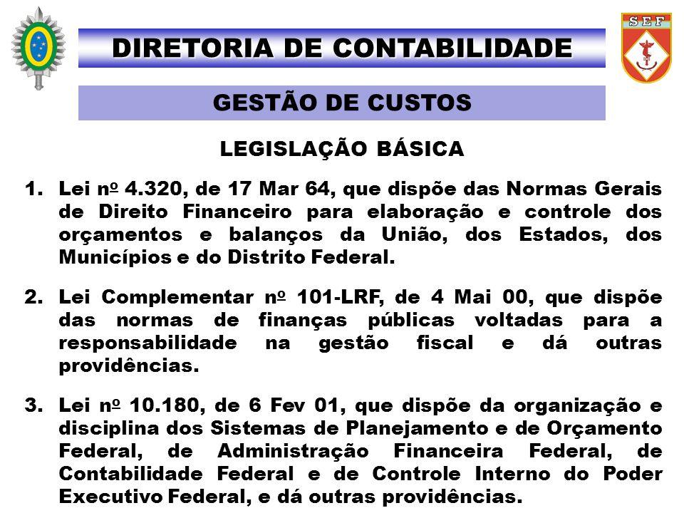 1.Lei n o 4.320, de 17 Mar 64, que dispõe das Normas Gerais de Direito Financeiro para elaboração e controle dos orçamentos e balanços da União, dos E