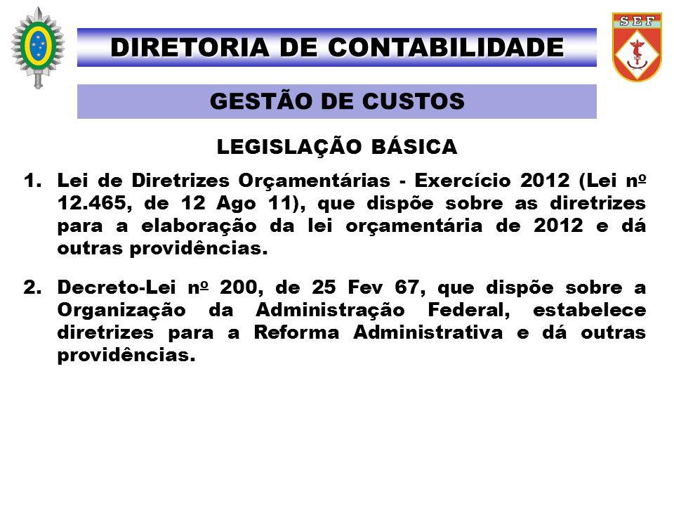 1.Lei de Diretrizes Orçamentárias - Exercício 2012 (Lei n o 12.465, de 12 Ago 11), que dispõe sobre as diretrizes para a elaboração da lei orçamentári