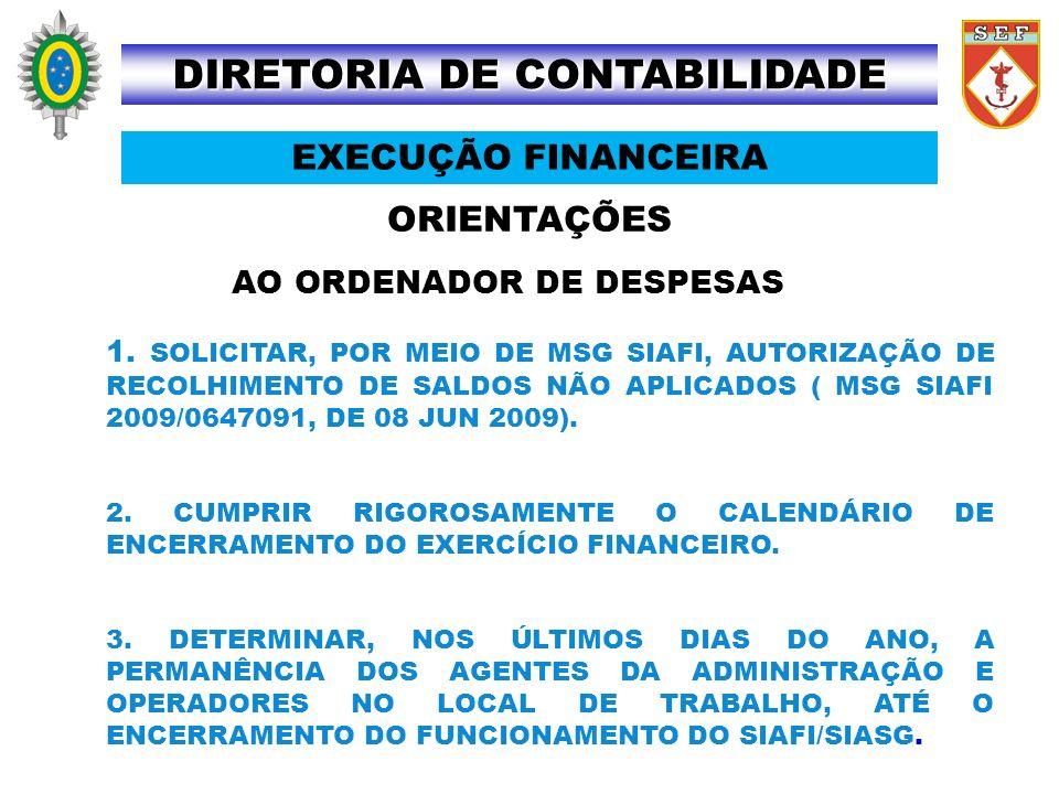 ORIENTAÇÕES DIRETORIA DE CONTABILIDADE EXECUÇÃO FINANCEIRA AO ORDENADOR DE DESPESAS 1. SOLICITAR, POR MEIO DE MSG SIAFI, AUTORIZAÇÃO DE RECOLHIMENTO D