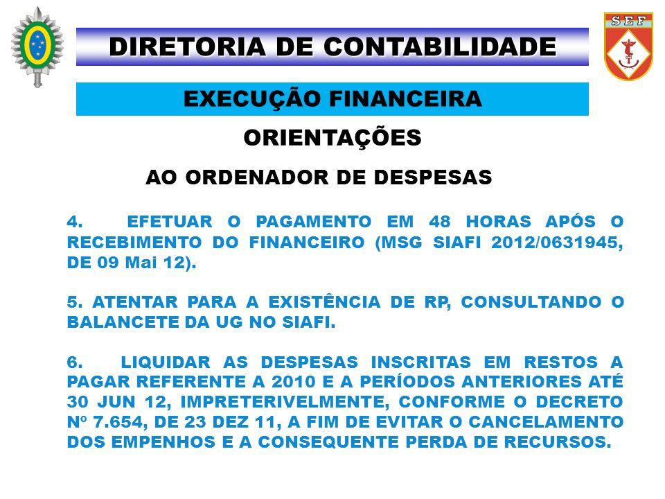 ORIENTAÇÕES DIRETORIA DE CONTABILIDADE EXECUÇÃO FINANCEIRA AO ORDENADOR DE DESPESAS 4. EFETUAR O PAGAMENTO EM 48 HORAS APÓS O RECEBIMENTO DO FINANCEIR