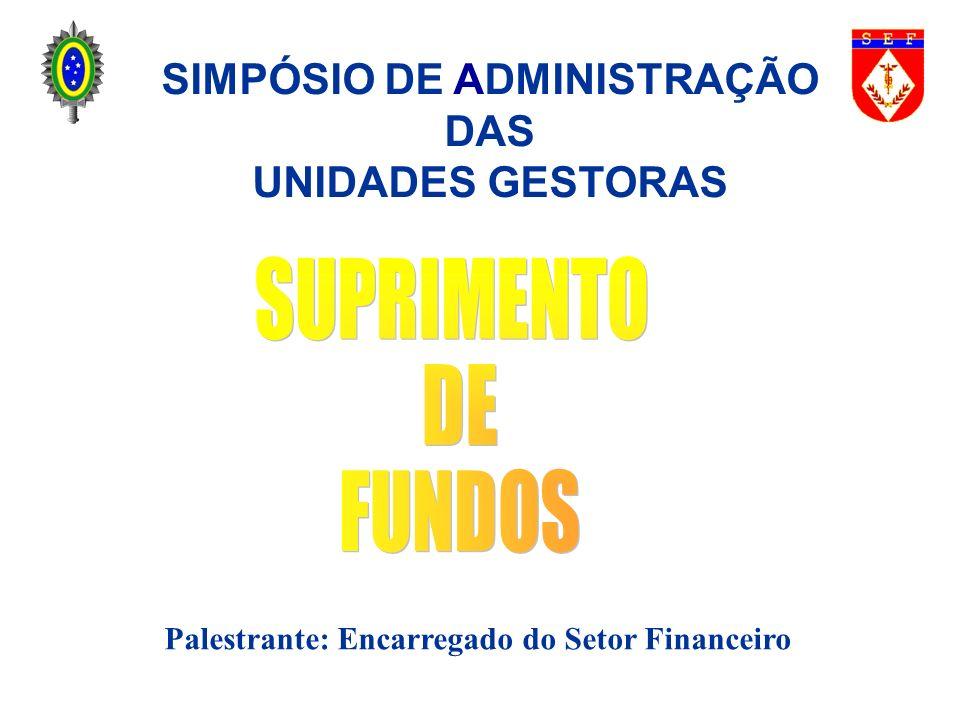 SUPRIMENTO DE FUNDOS OBJETIVO Padronizar conhecimentos acerca do processo de concessão e prestação de contas de suprimentos de fundos