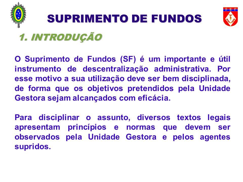 (1) Termo de Abertura de Proc Adm numerado; (2) Ato de Concessão (datado e assinado): - O Ato de Concessão não pode ser rasurado nem modificado após assinatura; - Deverá ter: nome; CPF; cargo/função Agt Suprido; - Indicar a motivação do Sup Fundos; - Especificar os limites e os tipos de despesas prováveis; - Indicar a fundamentação legal do Sup Fundos (tipo); - Indicar se há ou não previsão de saque.