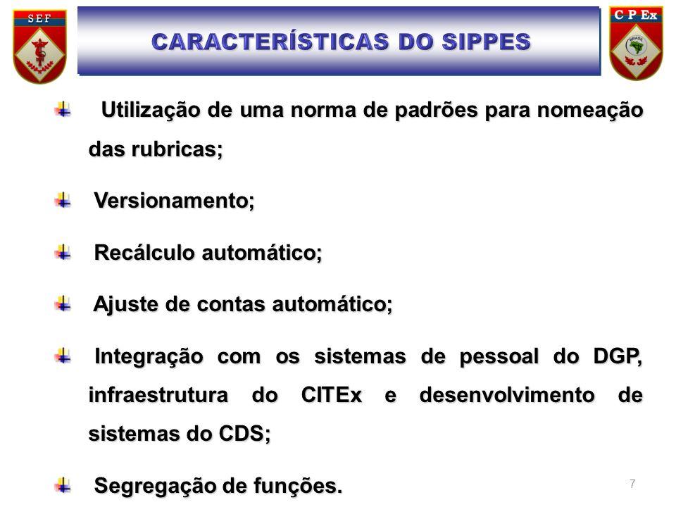 7 Utilização de uma norma de padrões para nomeação das rubricas; Utilização de uma norma de padrões para nomeação das rubricas; Versionamento; Version