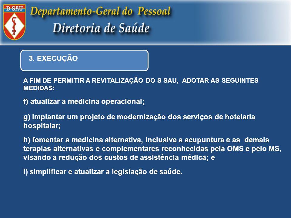 3. EXECUÇÃO A FIM DE PERMITIR A REVITALIZAÇÃO DO S SAU, ADOTAR AS SEGUINTES MEDIDAS: f) atualizar a medicina operacional; g) implantar um projeto de m