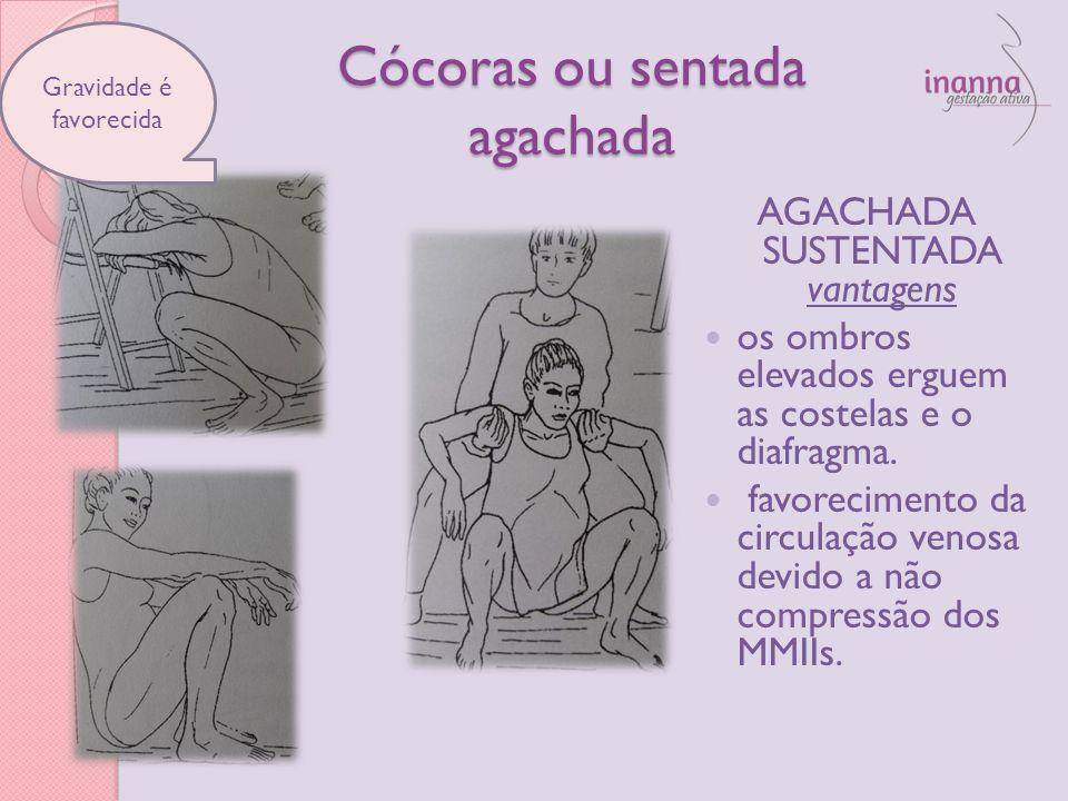 Cócoras ou sentada agachada AGACHADA SUSTENTADA vantagens os ombros elevados erguem as costelas e o diafragma. favorecimento da circulação venosa devi
