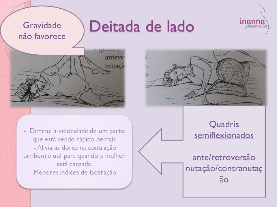 Deitada de lado Quadris semiflexionados ante/retroversão nutação/contranutaç ão - Diminui a velocidade de um parto que está sendo rápido demais - Aliv