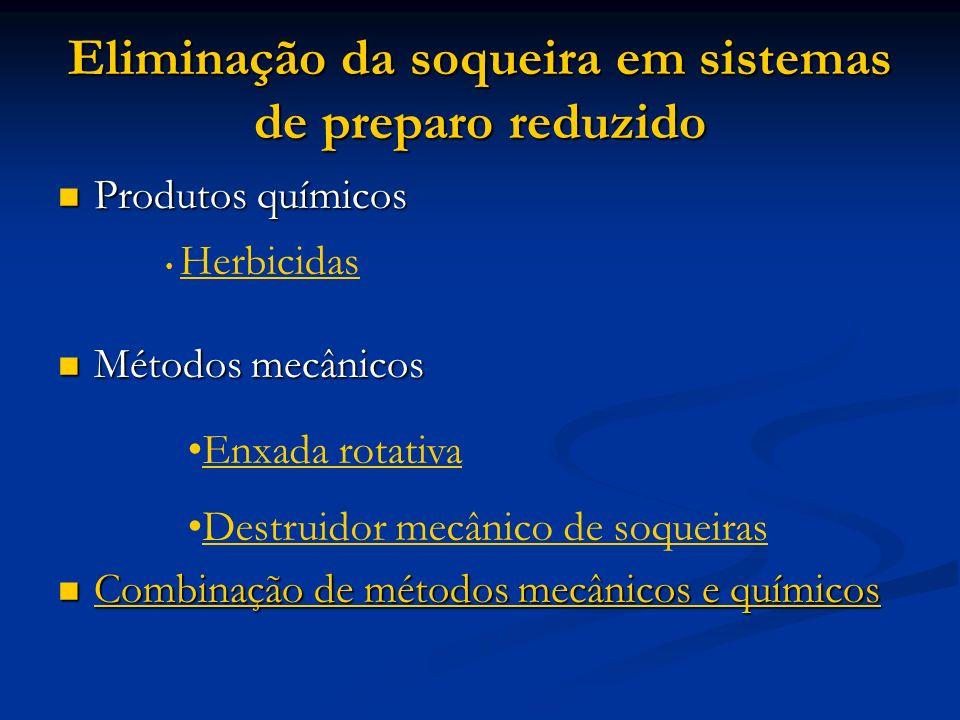 Eliminação da soqueira em sistemas de preparo reduzido Produtos químicos Produtos químicos Métodos mecânicos Métodos mecânicos Combinação de métodos m
