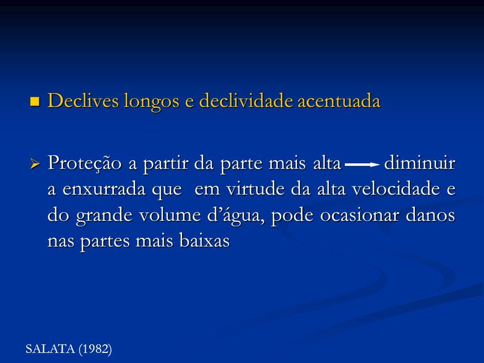 Declives longos e declividade acentuada Declives longos e declividade acentuada Proteção a partir da parte mais alta diminuir a enxurrada que em virtu