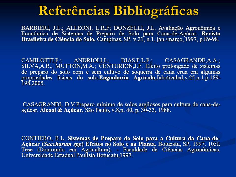 Referências Bibliográficas BARBIERI, J.L.; ALLEONI, L.R.F; DONZELLI, J.L. Avaliação Agronômica e Econômica de Sistemas de Preparo de Solo para Cana-de