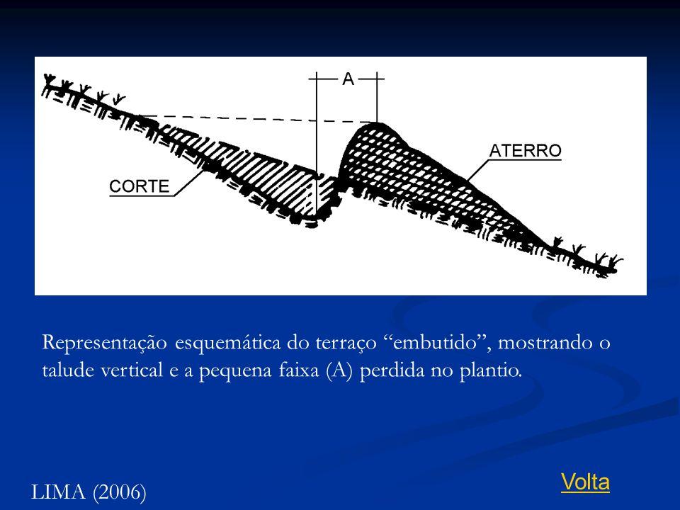 Representação esquemática do terraço embutido, mostrando o talude vertical e a pequena faixa (A) perdida no plantio. LIMA (2006) Volta