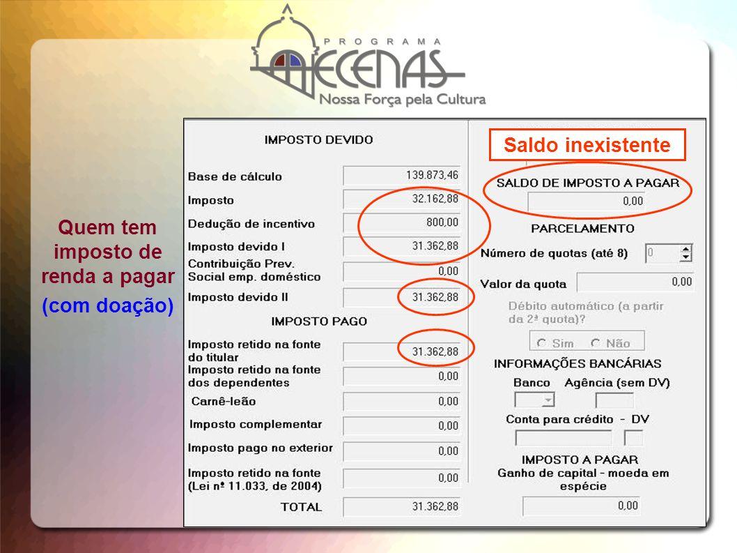 Quem tem imposto de renda a pagar (com doação) Saldo inexistente