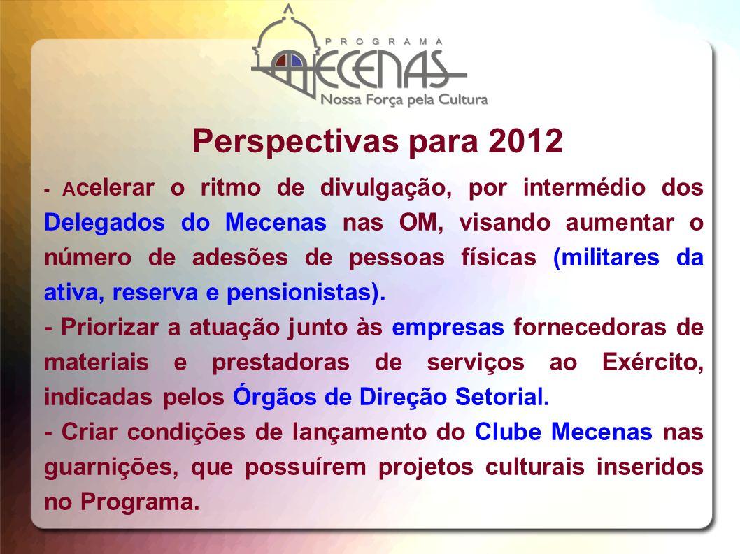 Perspectivas para 2012 - A celerar o ritmo de divulgação, por intermédio dos Delegados do Mecenas nas OM, visando aumentar o número de adesões de pess