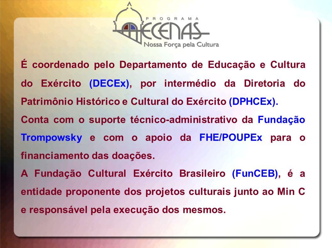 É coordenado pelo Departamento de Educação e Cultura do Exército (DECEx), por intermédio da Diretoria do Patrimônio Histórico e Cultural do Exército (