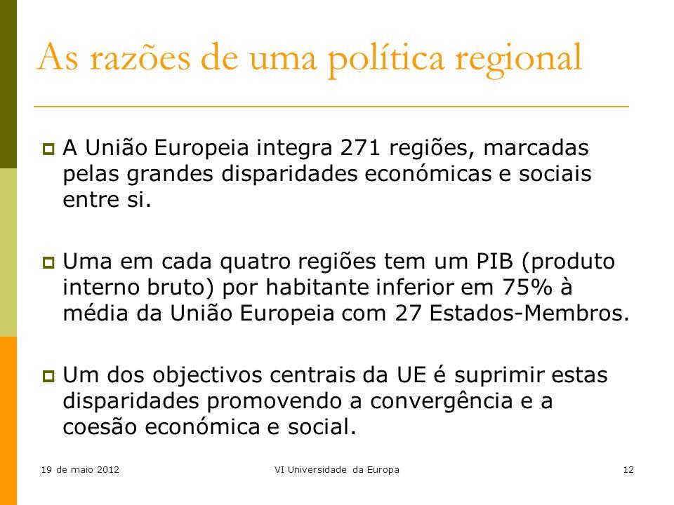 19 de maio 2012VI Universidade da Europa12 A União Europeia integra 271 regiões, marcadas pelas grandes disparidades económicas e sociais entre si. Um