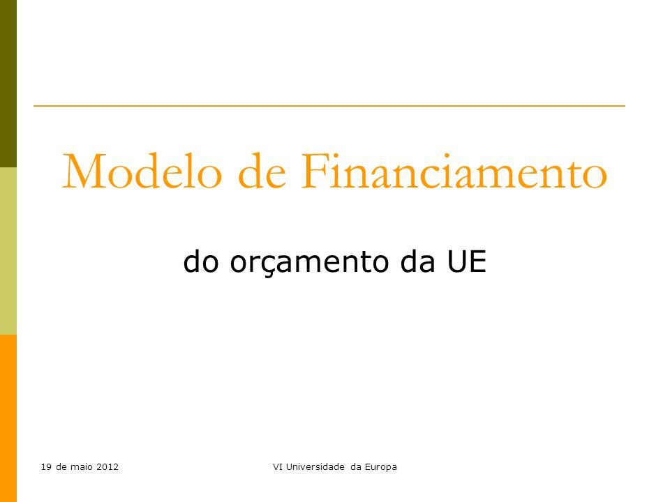 19 de maio 2012VI Universidade da Europa Modelo de Financiamento do orçamento da UE